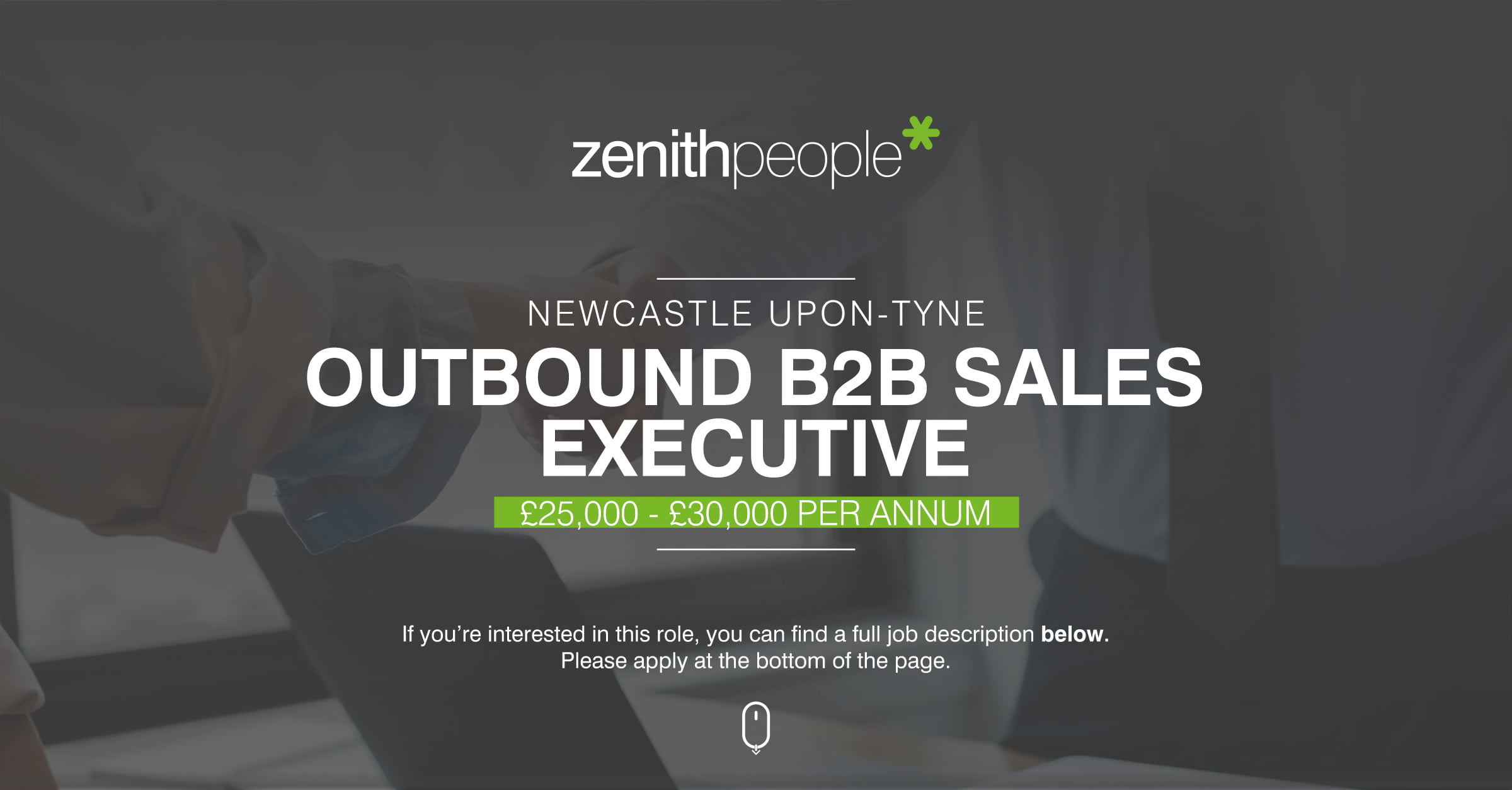 Outbound B2B Sales Executive Advert with location and salary information